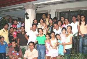 Some of the DMMMSU alumni with their families at a reunion in 2008